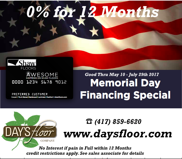 Carpet, Tile, and Hardwood Special at Days Floor Company