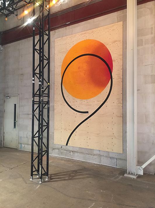 Olafur.  2017 Spraypaint and acrylics on wood. 366 x 244 cm.