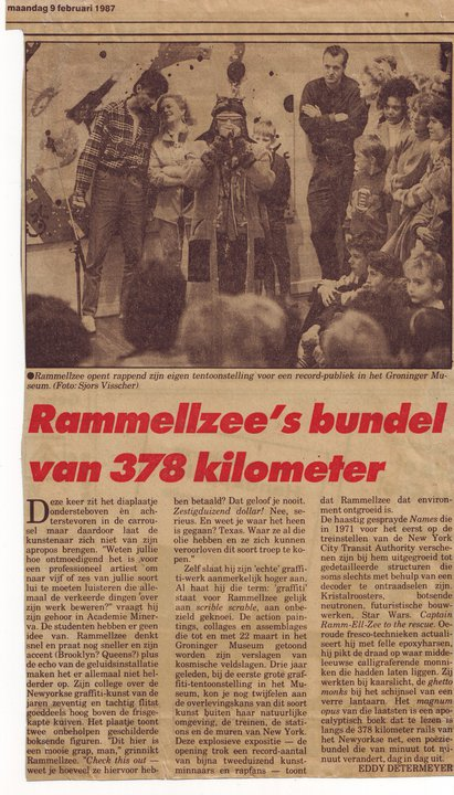Groninger Museum 1987.   Rammellzee  opened his exhibition rapping on the mic. Behind him stand Mc Semi One and Mickey, who would both do a microphone session with Rammellzee.