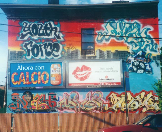 Bronx NYC 1999.  Mural for Youth Force. Noah - Mickey - Atome