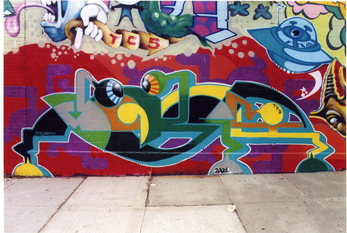 New York City, 2001.    Part of mural with Smith - Lady Pink - Dalek - Cycle - Muck a.o.