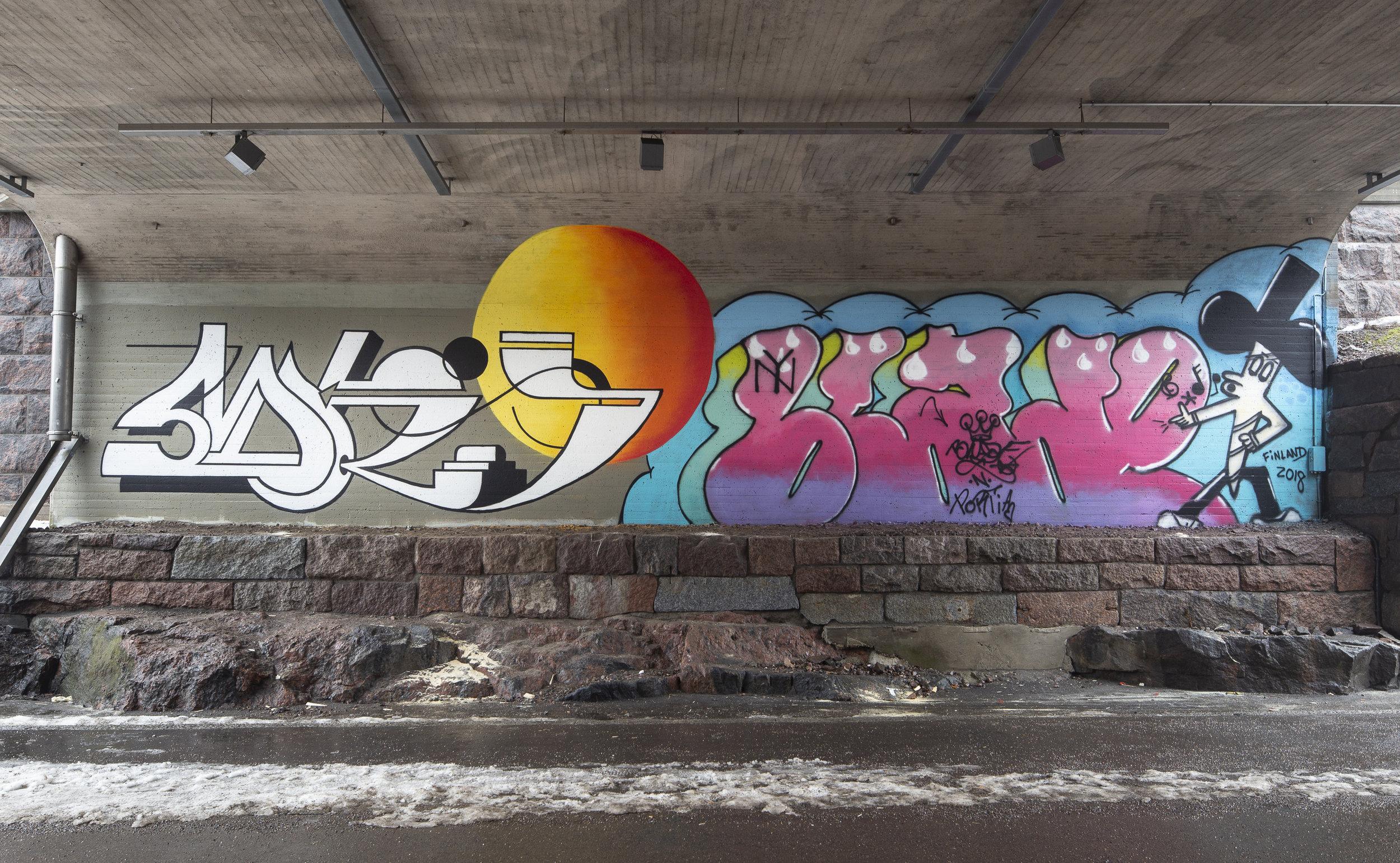 Baana bicycle track, Helsinki. April 2018  Blade and Mick La Rock  for @ HAM Helsinki,