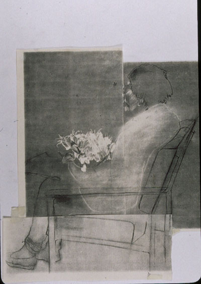 Sitting in a rest home, waiting for God, Charcoal on paper, photocopy collage
