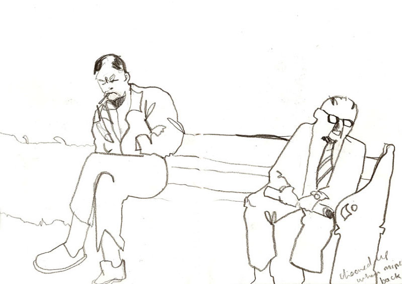 Men on a bench in a small Plaza, Sevilla 1998