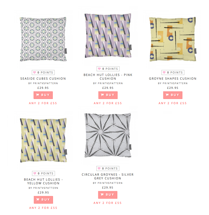 5 cushion designs currently available to purchase or to  vote  on your favourite design…