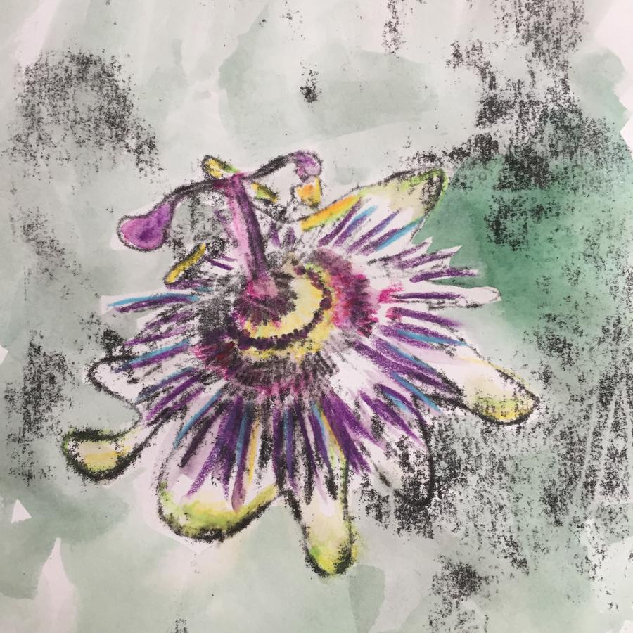 Passion flower mono print