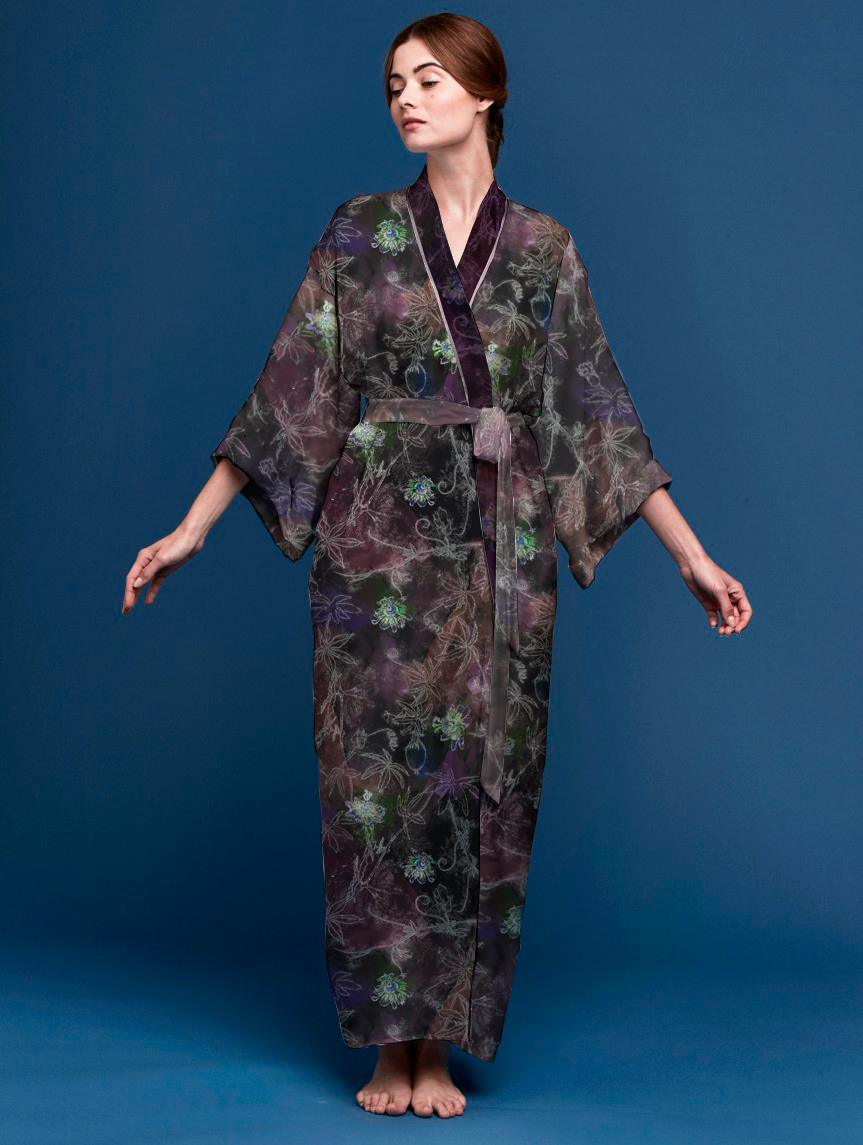 Kimono in Passiflora Dark