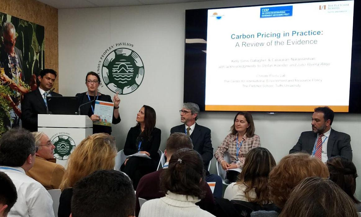 CPL Director Prof. Kelly Sims Gallagher and Research Fellow Easwaran Narassimhan discuss the new report at COP23 on Monday, November 13, 2017.