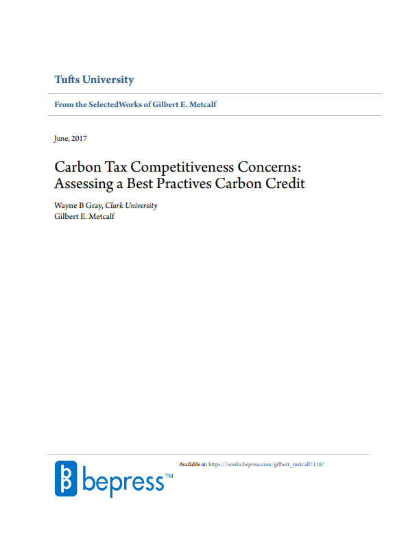 Carbon Tax Competitiveness Concerns: Assessing a Best Practices Carbon Credit