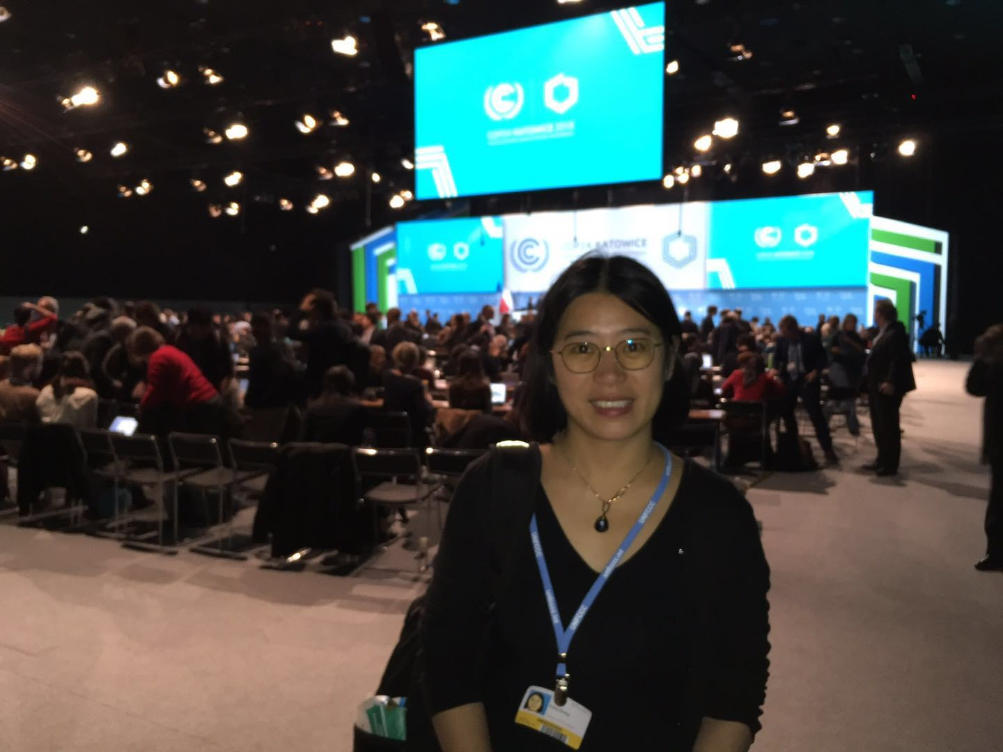 Fang Zhang at one of the COP24 negotiation sites