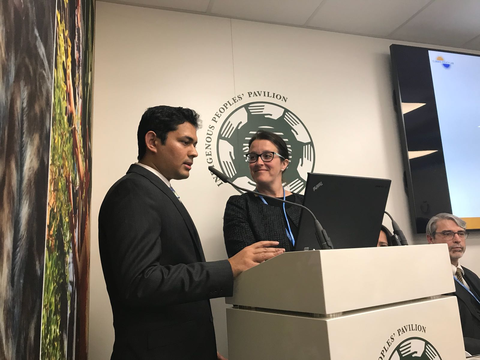 """Professor Kelly Sims Gallagher and predoctoral fellow, Easwaran Narassimhan presenting on their report, """"Carbon Pricing in Practice: A review of Existing Emissions Trading Systems."""""""
