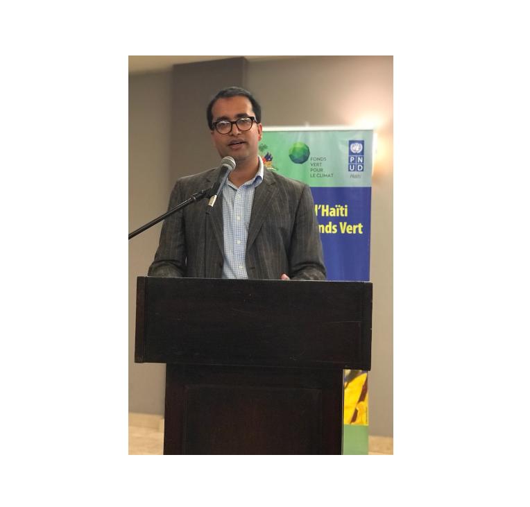 Rishikesh Bhandary presenting on global climate finance in Haiti.