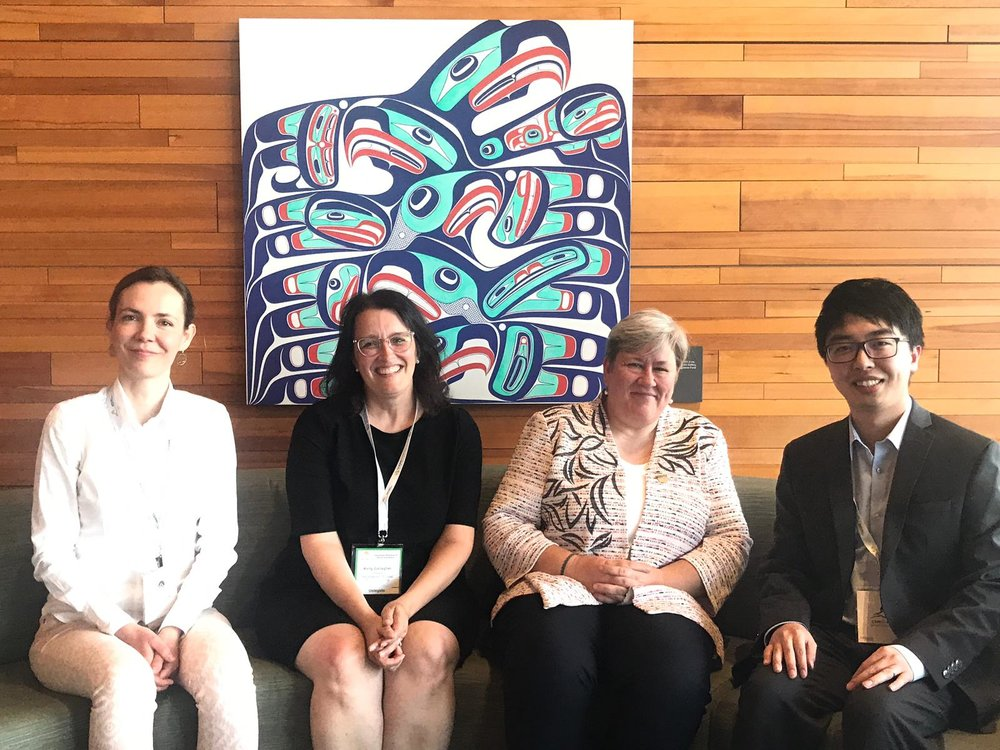 Predoctoral Fellow Zdenka Myslikova, Professor Kelly Sims Gallagher, future Fletcher Dean Rachel Kyte, and Postdoctoral Scholar Ping Huang at Mission Innovation in Vancouver, May 2019