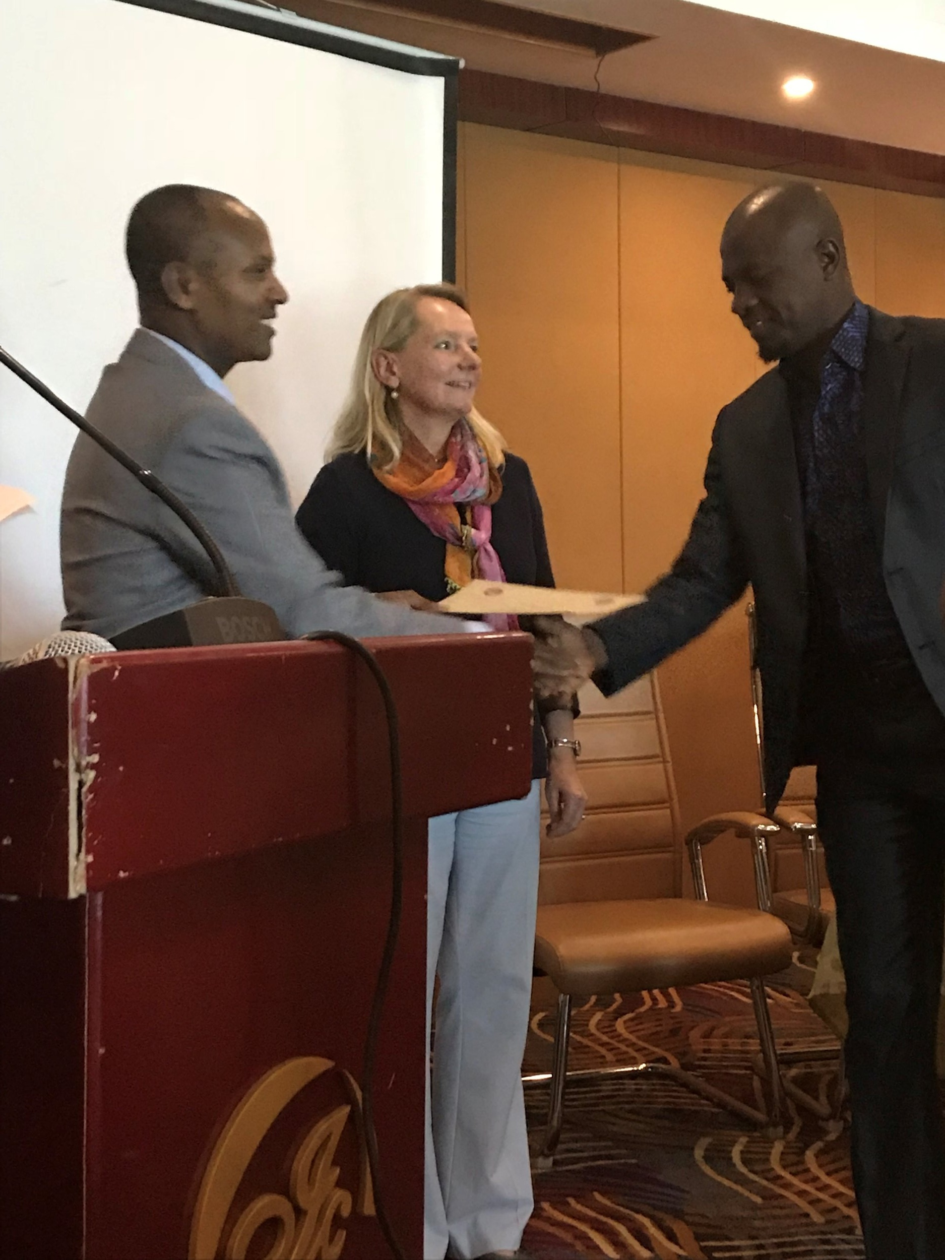 CIERP Associate Director Mieke van der Wansem with Ethiopia's Minister Gemedo Dalle and a training attendee.