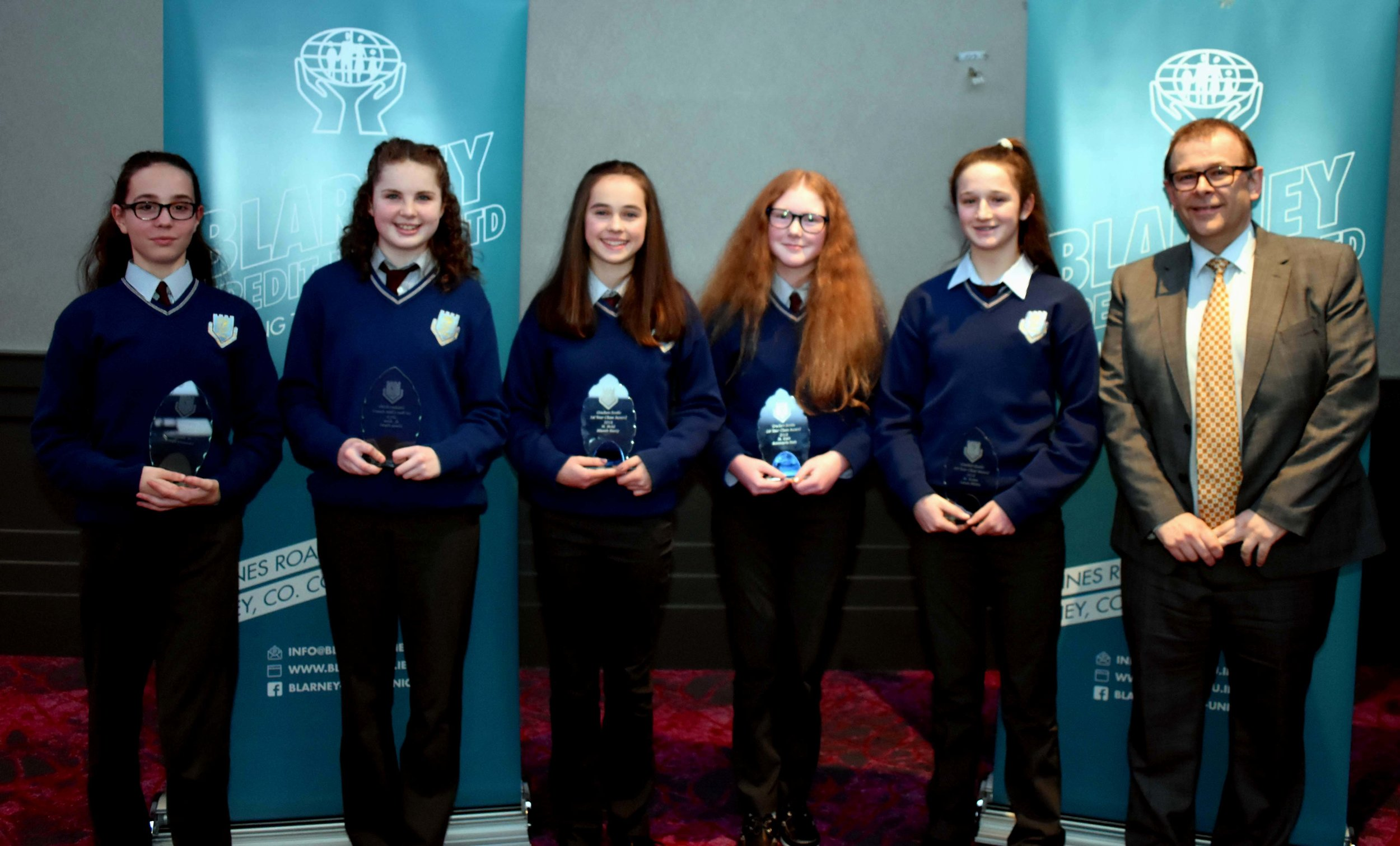 First Year Class Awards: Vanessa Byrne, Chloe Flynn, Niamh Barry, Annmarie Kett and Laura Shine (Pictured with Mark McGloughlin - BOM and Blarney Credit Union)