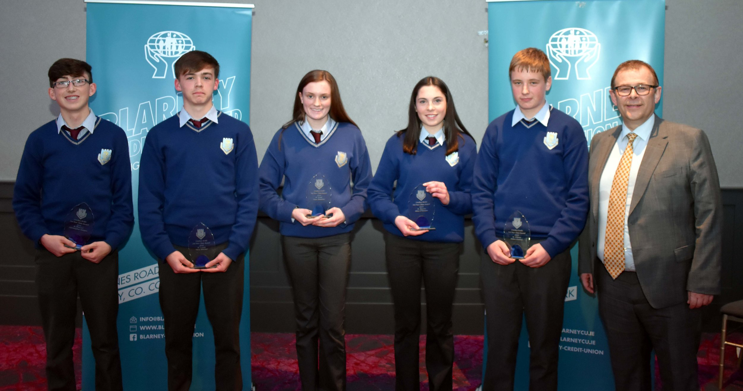 Third Year Class Awards: Christopher Horgan, Harry Mitchell, Ciara Sheehan, Alice O' Connor and Aidan Linehan. (Pictured with Mark McGloughlin - BOM and Blarney Credit Union)