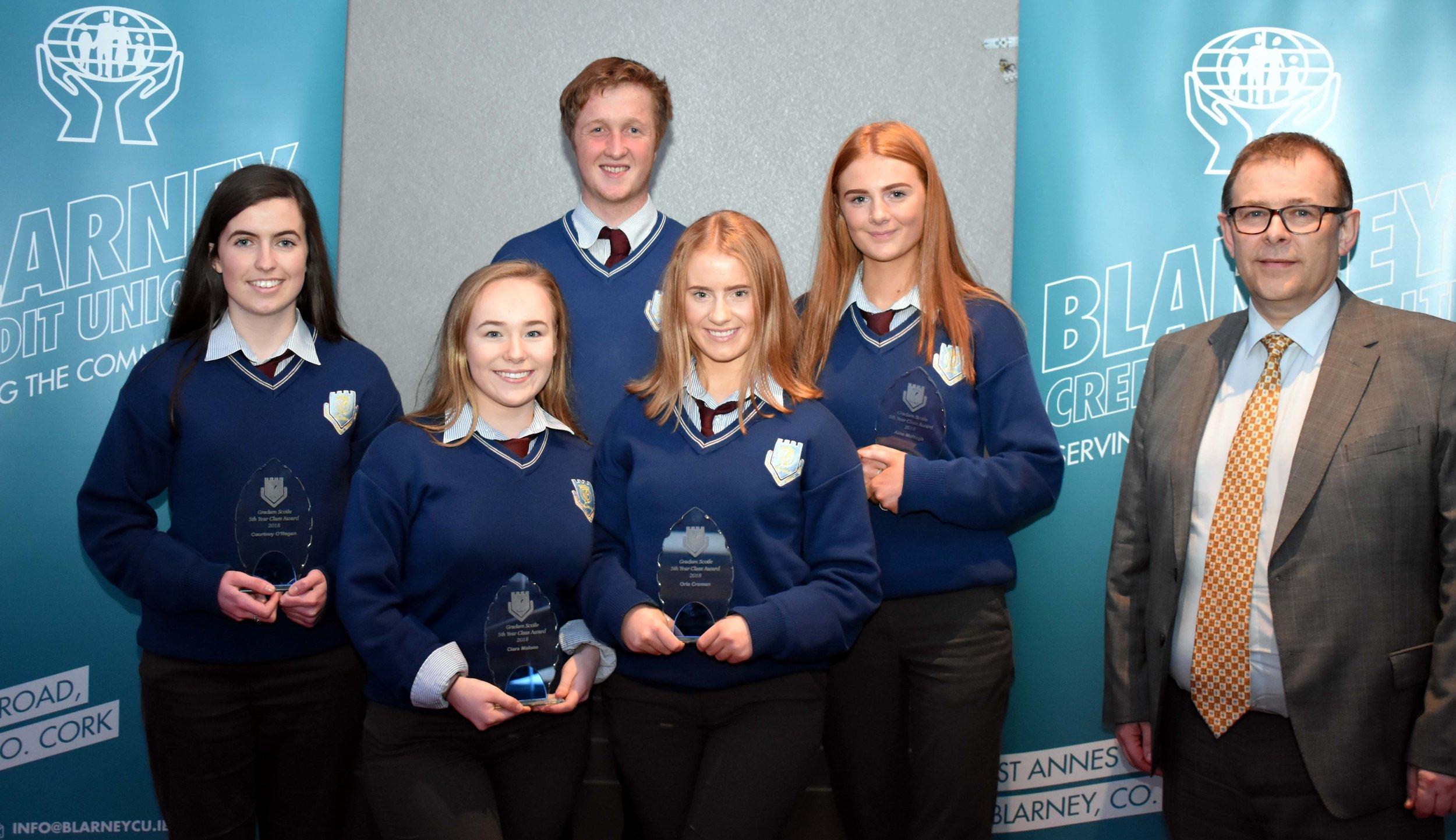 5th Year Class Award Winners: (Back L-R) Courtney O' Regan, Seanán Jones, Áine McHugh, (Front L-R) Ciara Malone, Orla Cremen. (Pictured with Mark McGloughlin - BOM and Blarney Credit Union)