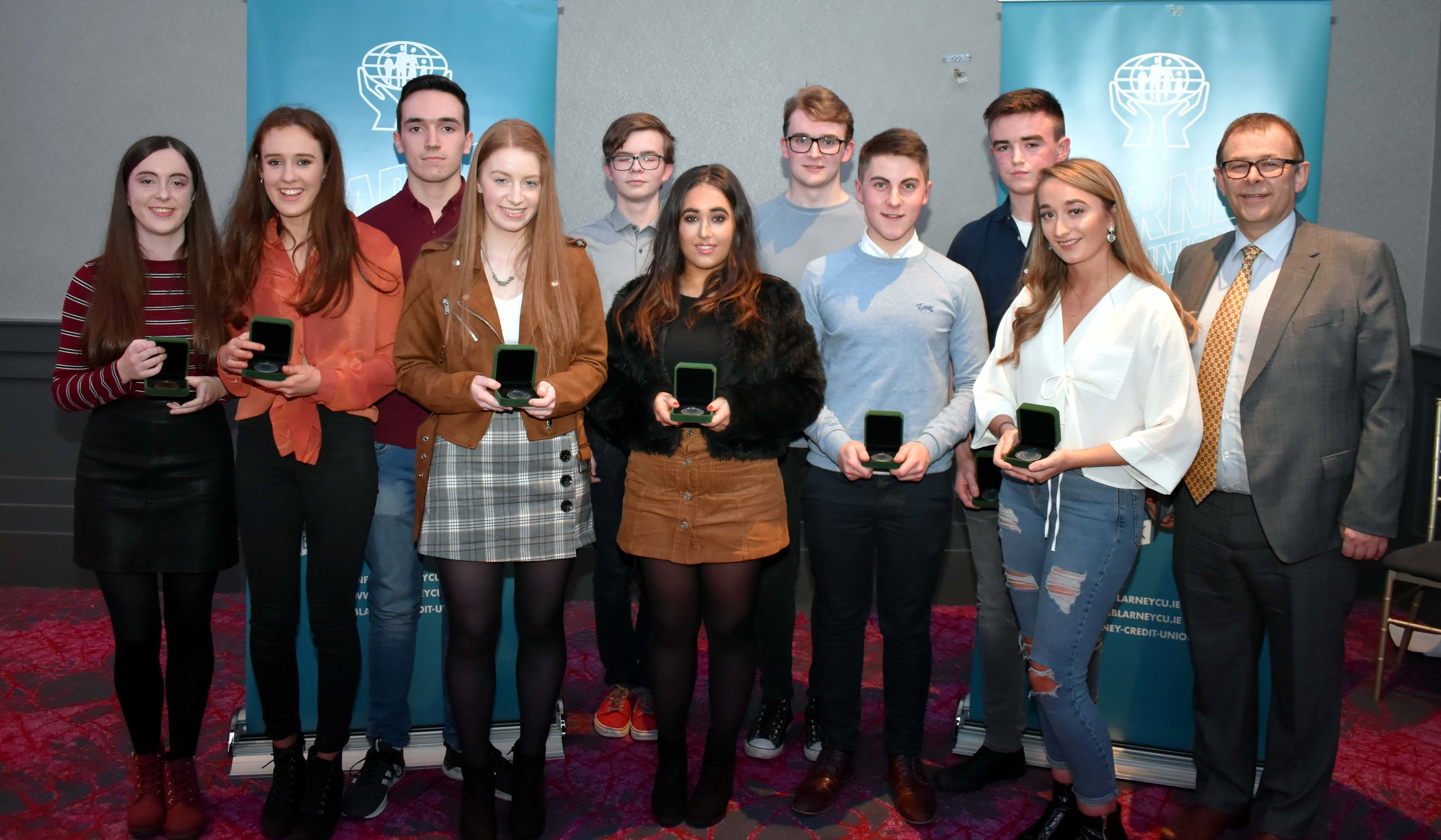 Leaving Cert Class of 2018 over 500 points: (L-R) Laoise Gavin, Ciara Sheehan, David Rea, Karen O' Connell, Aaron Dorney, Laura O' Driscoll, Joseph Linehan, Denis O' Sullivan, Shane Carroll, Sophie Williams. Absent from photo- Giovanni Manfredi and Jason O' Riordan (Pictured with Mark McGloughlin - BOM and Blarney Credit Union)