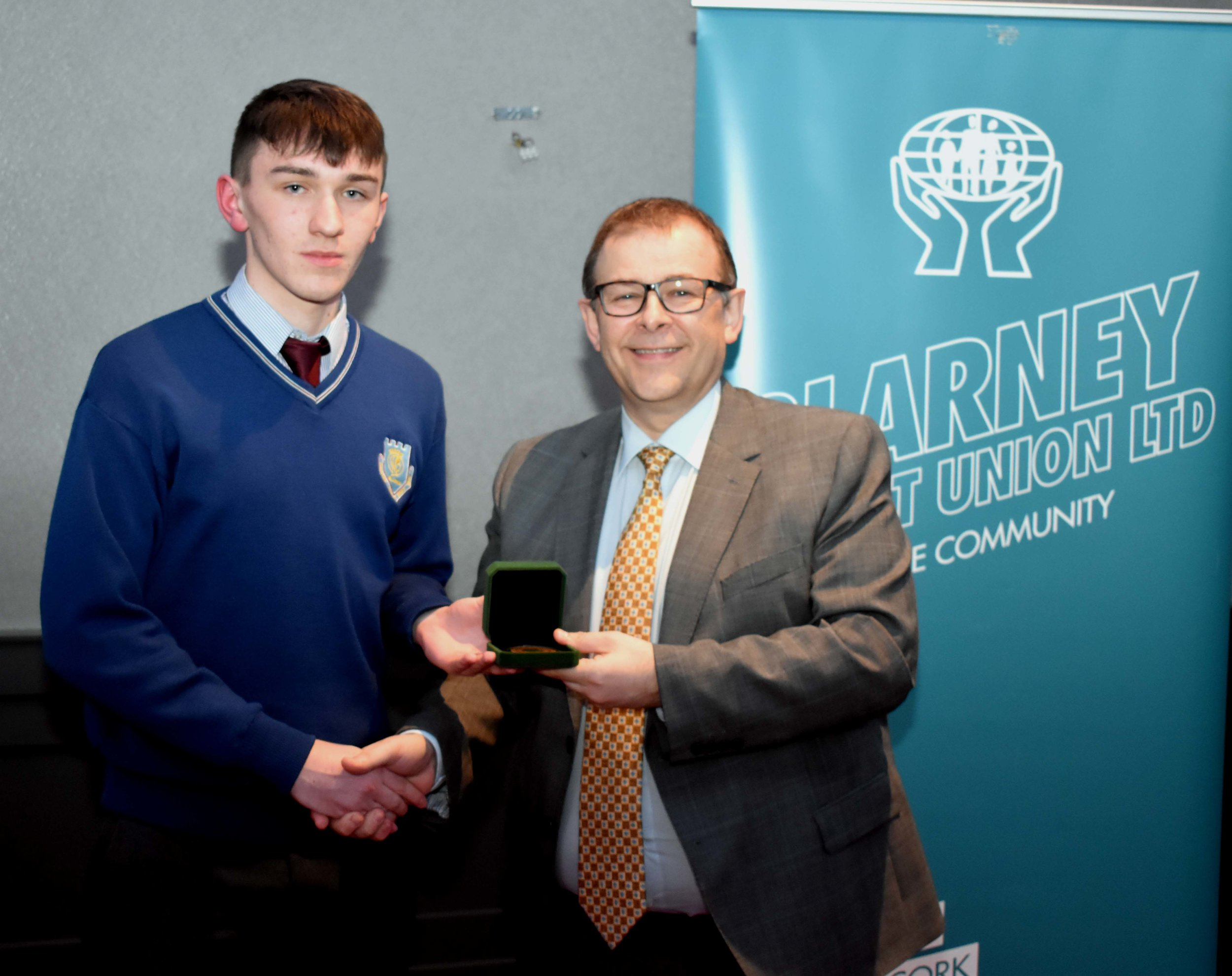 Junior Certificate Gold Medal Winner: Mark Maguire (Pictured with Mark McGloughlin - BOM and Blarney Credit Union)