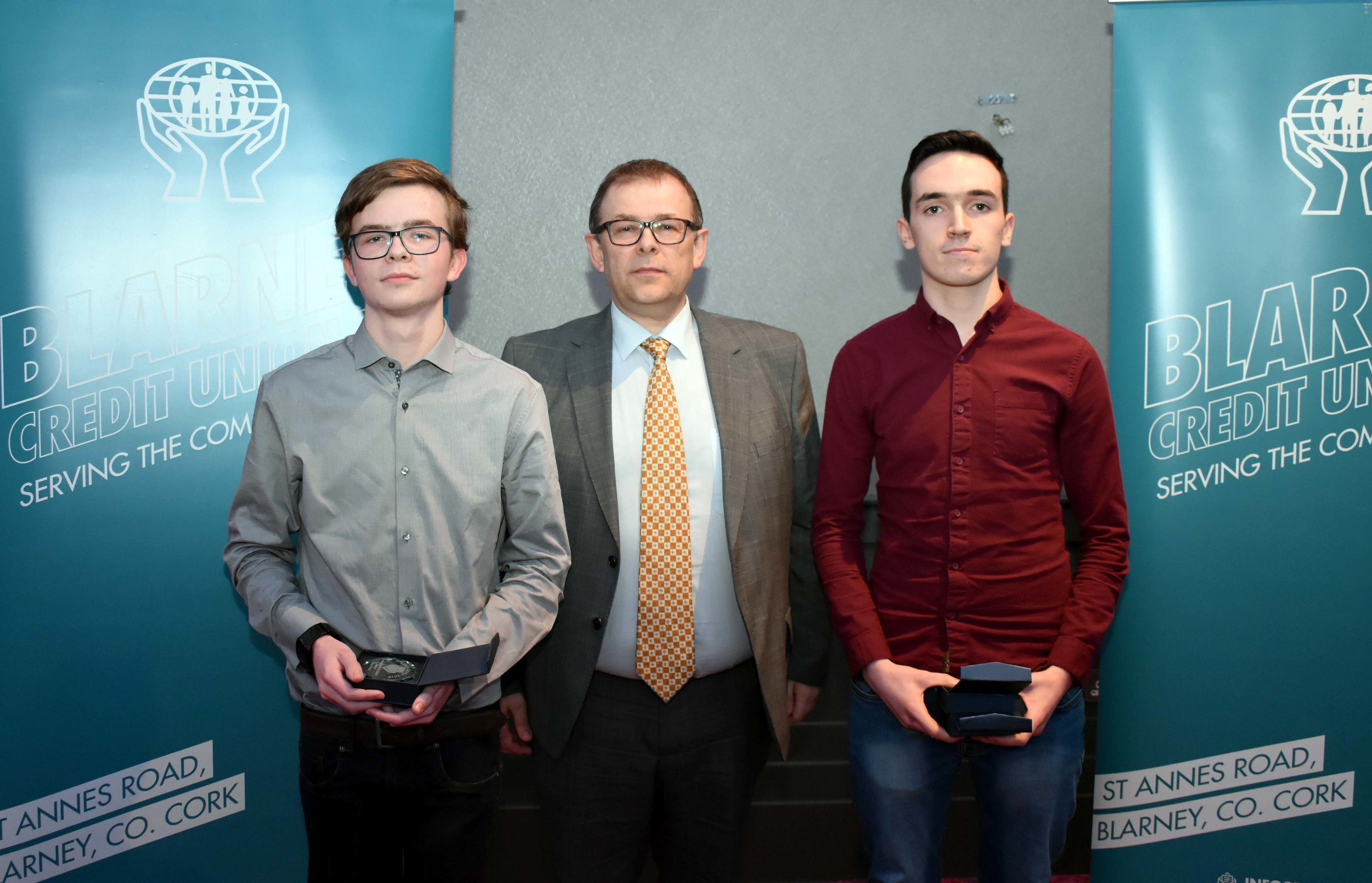 Senior Subject Award winners: Aaron Dorney (German), David Rea (Physics and Applied Maths)(Pictured with Mr. Mark McGloughlin - BOM and Blarney Credit Union)