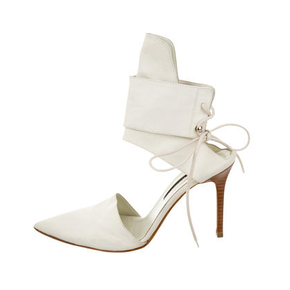 White Leather Ankle Cuff pumps
