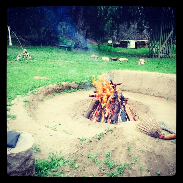 The sacred fire, preparing the grandfather stones. Thanks, I think.