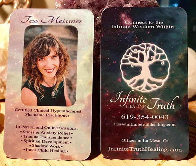 Loving these new business cards!! Thank you @jonelletonkin for always having my back when it comes to marketing materials (and literally everything else). #businesscards #magical #bff #gratitude #magicalmarketing #cosmos #infinitetruth #hypnosis #shamanism #healing #spiritualawakening #spiritual #innerchild #shadowwork #traumaresolution #sandiego #lamesa #privatepractice #integrativehealing