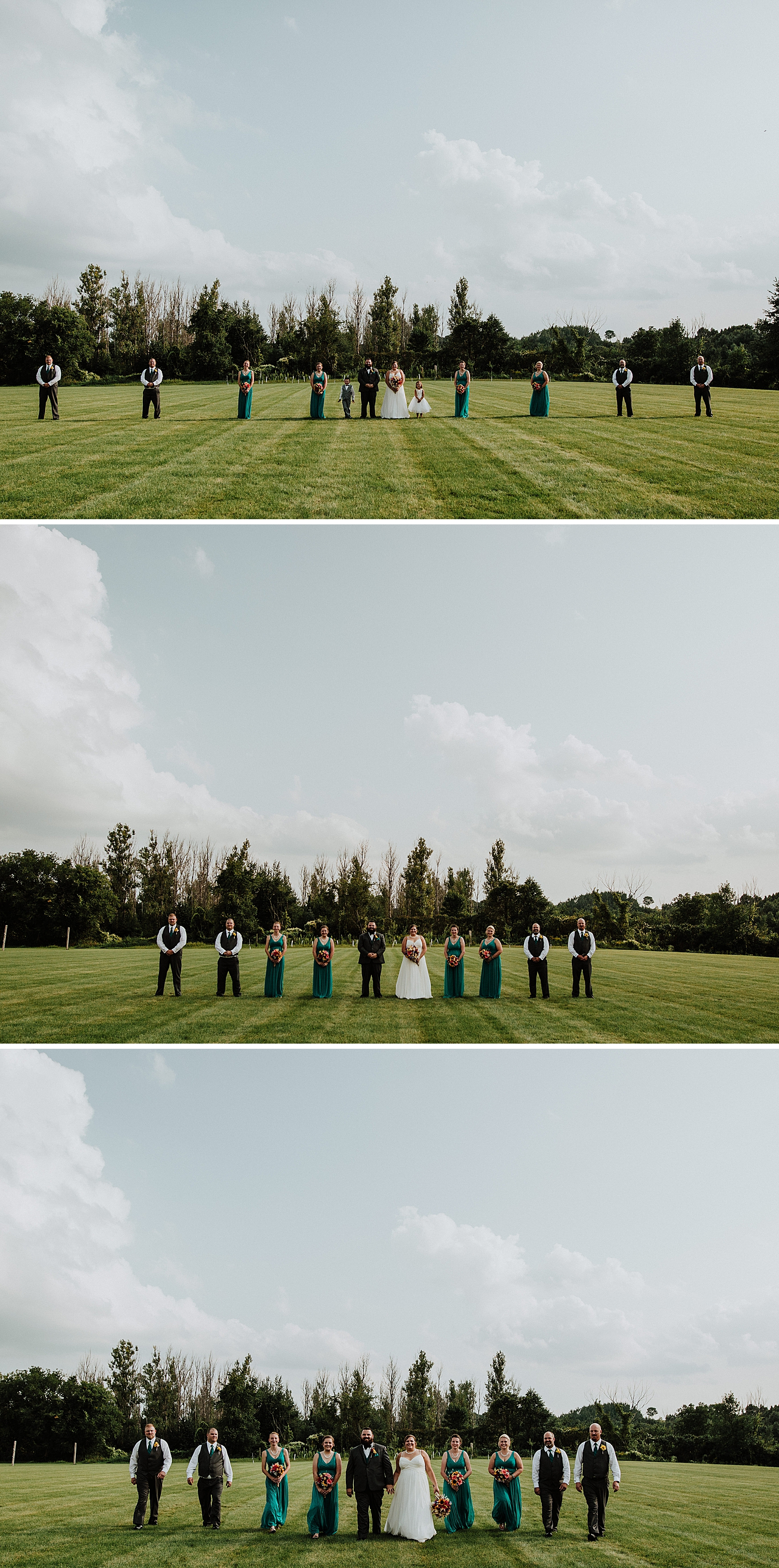 Bridal party photos in field at hayloft barn