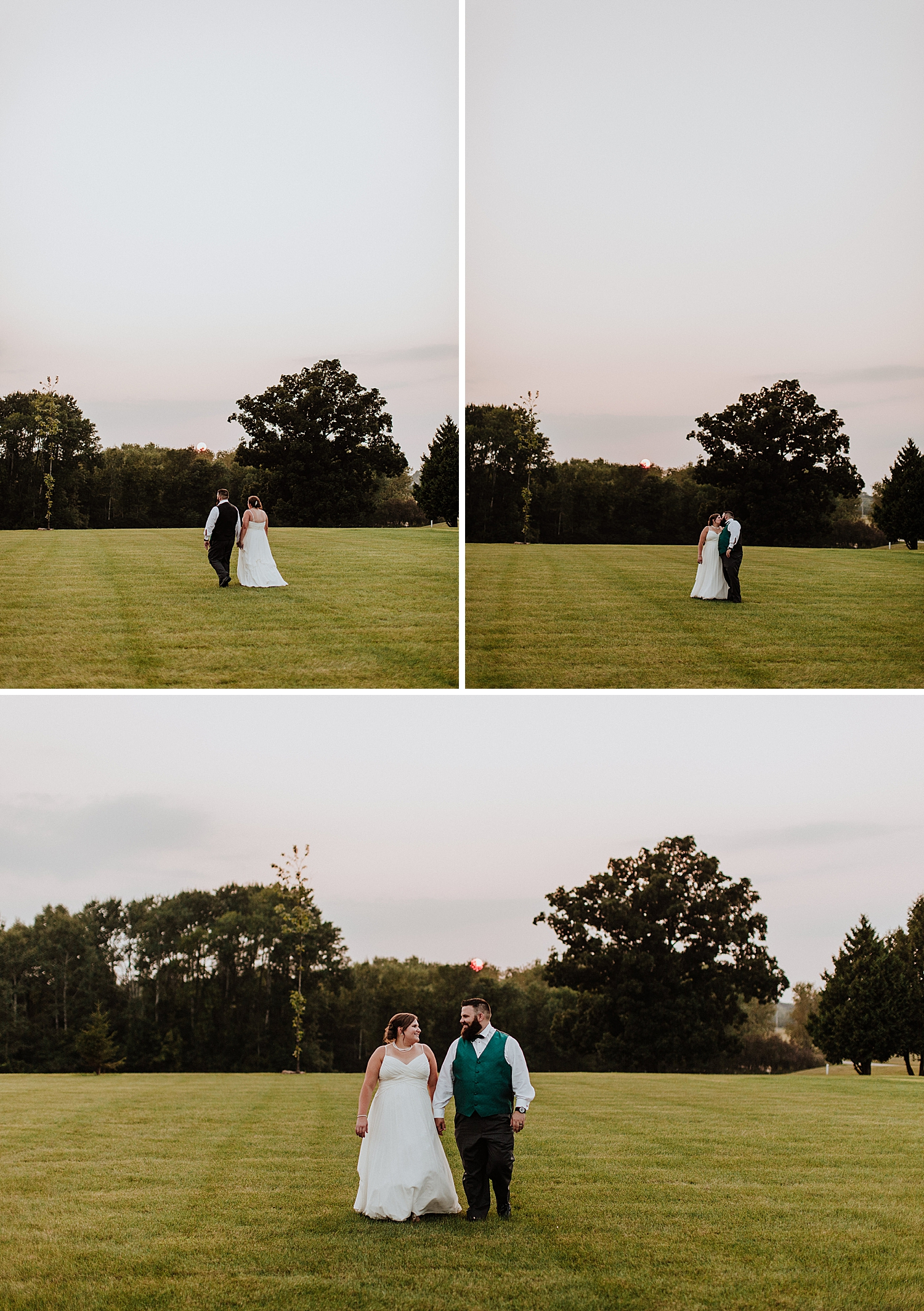 bride and groom sunset photos at hayloft barn