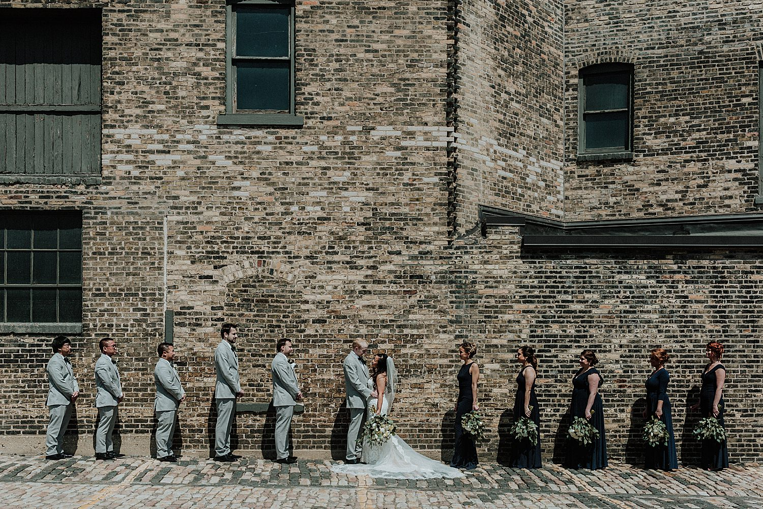 wedding party photo in downtown milwaukee