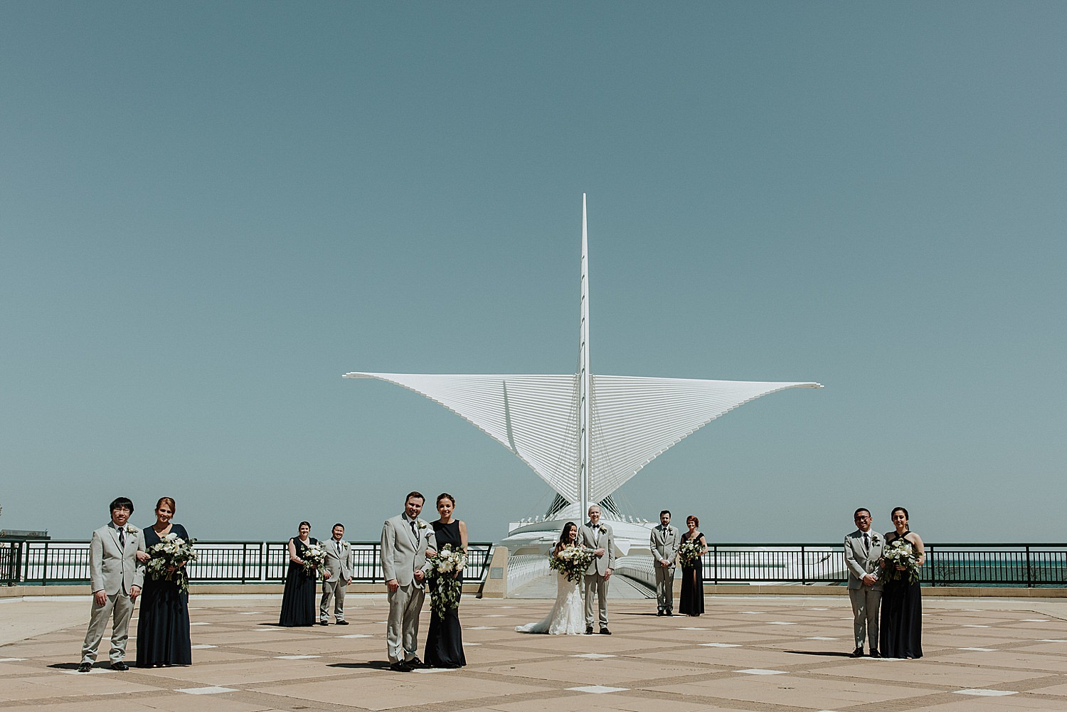 Wedding party in front of Milwaukee Art Museum