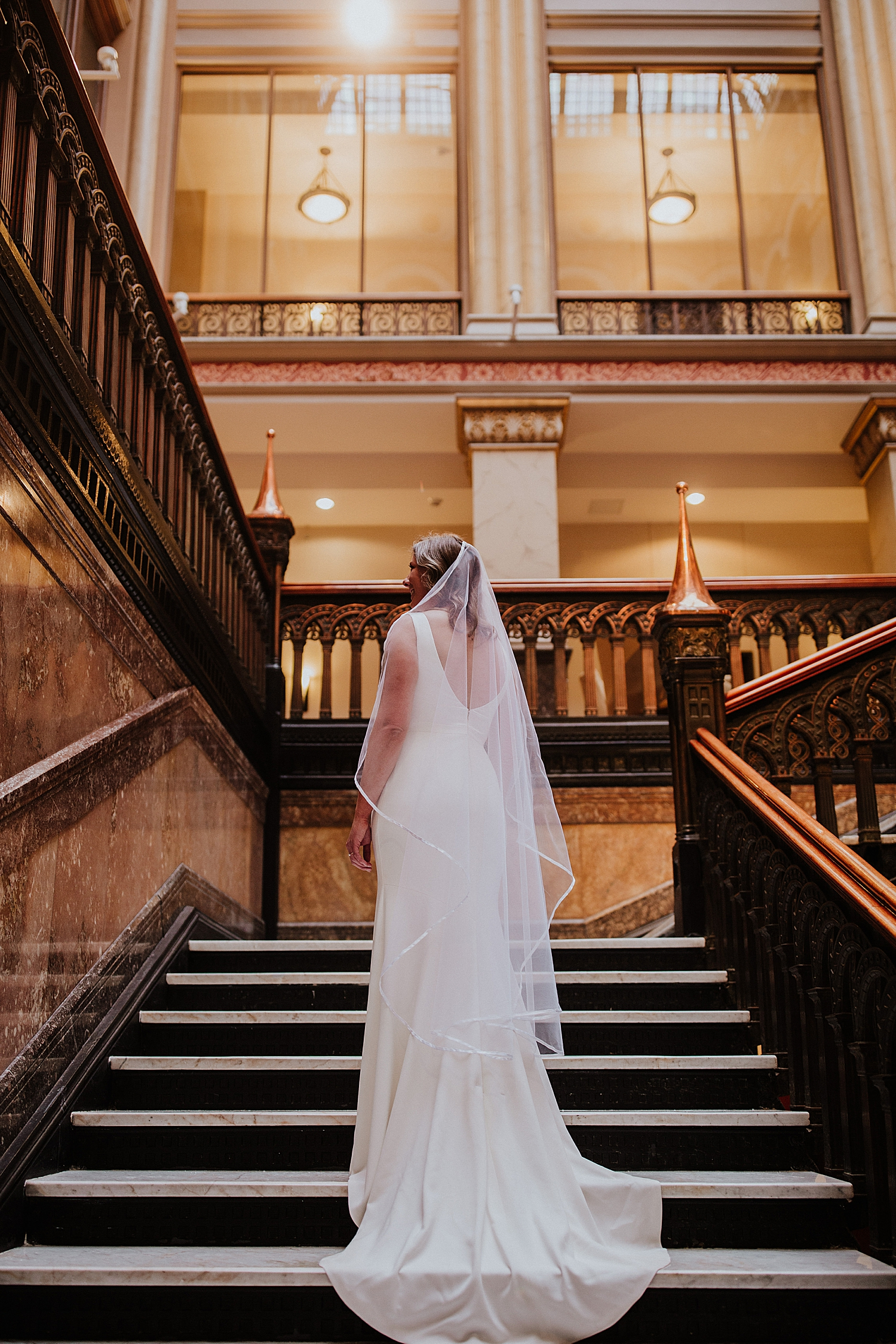 Bridal portrait Hilton Garden Inn stairs