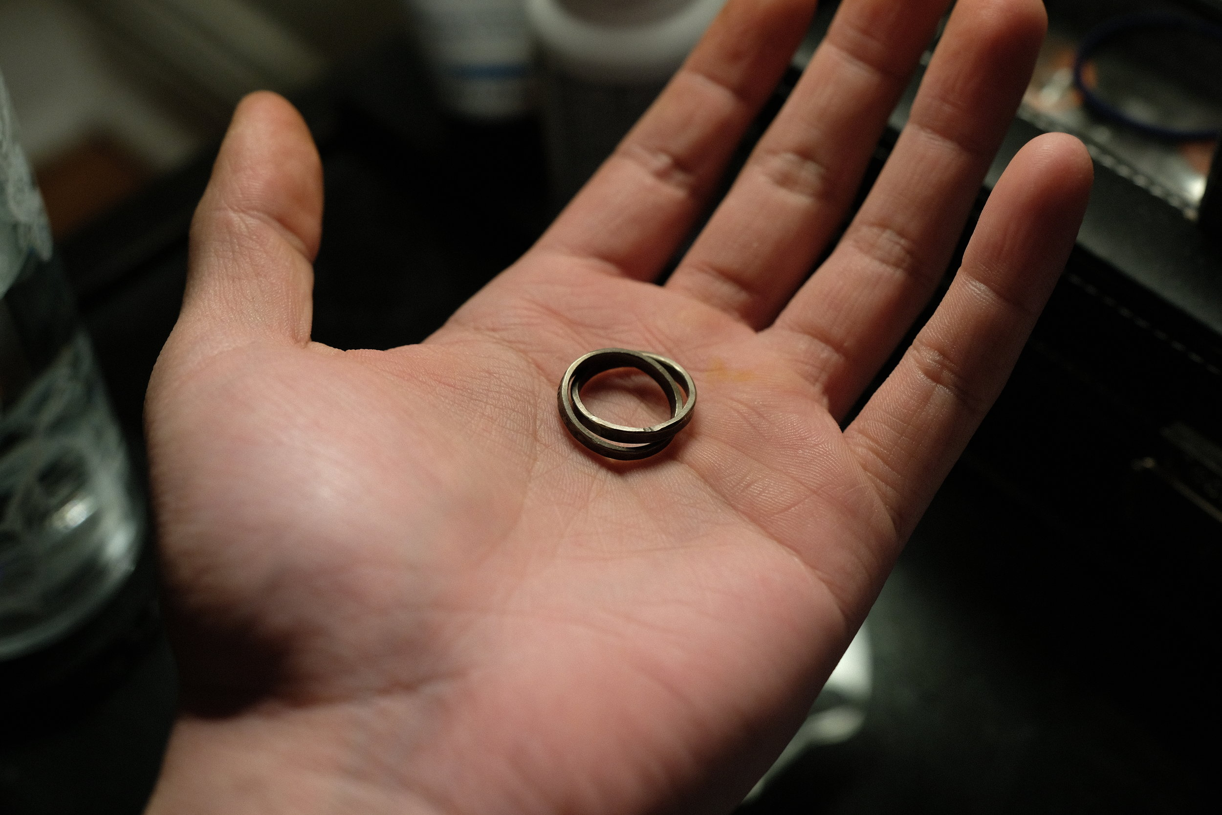 The rings (ring?)after their sulphur bath.