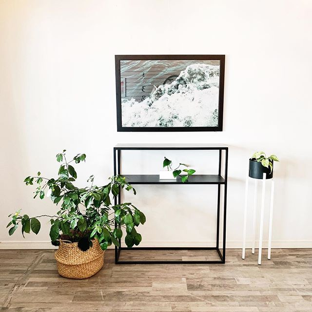 "Our signature full metal black powder coated console table is ON SALE for $360! We have one in stock ready to make itself home in your space! Designed by @briemakesspaces + made by @maxcosteel. It measures 12"" deep, 39"" wide, 42"" high. We have one belly basket adorned with pom poms handmade by Brie left in stock (SOLD) + of course plants, propagation stations + plant stands! 24x36 framed 'Superior Wave' by @brietakespictures also available - $299 #thesoo #shoplocal"