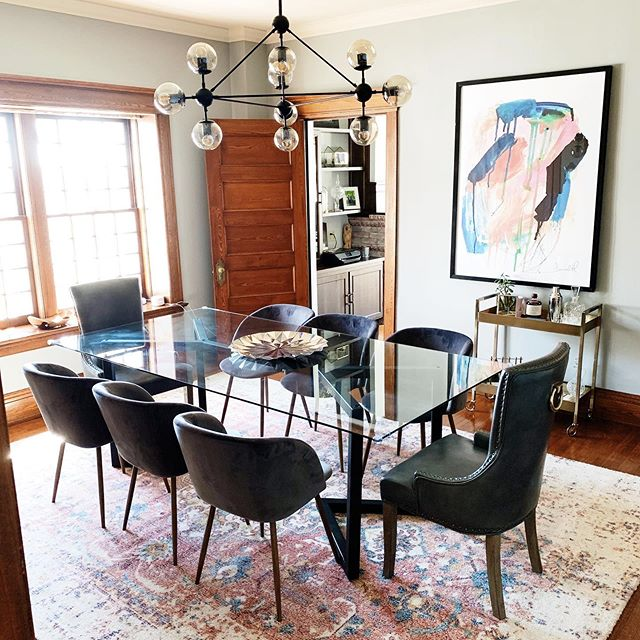 Finding the balance in this classic home with more modern details, making the space more to the young families taste has been such a treat to help pull together!  TABLE: @maxcosteel  CHAIRS: @paintanddecorconcepts