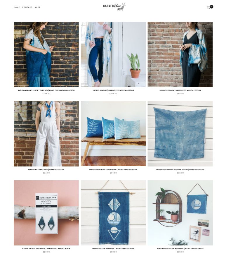 Garner Blue  features a cohesive product line of cotton wovens and wood, indigo color, consistent geometric patterns