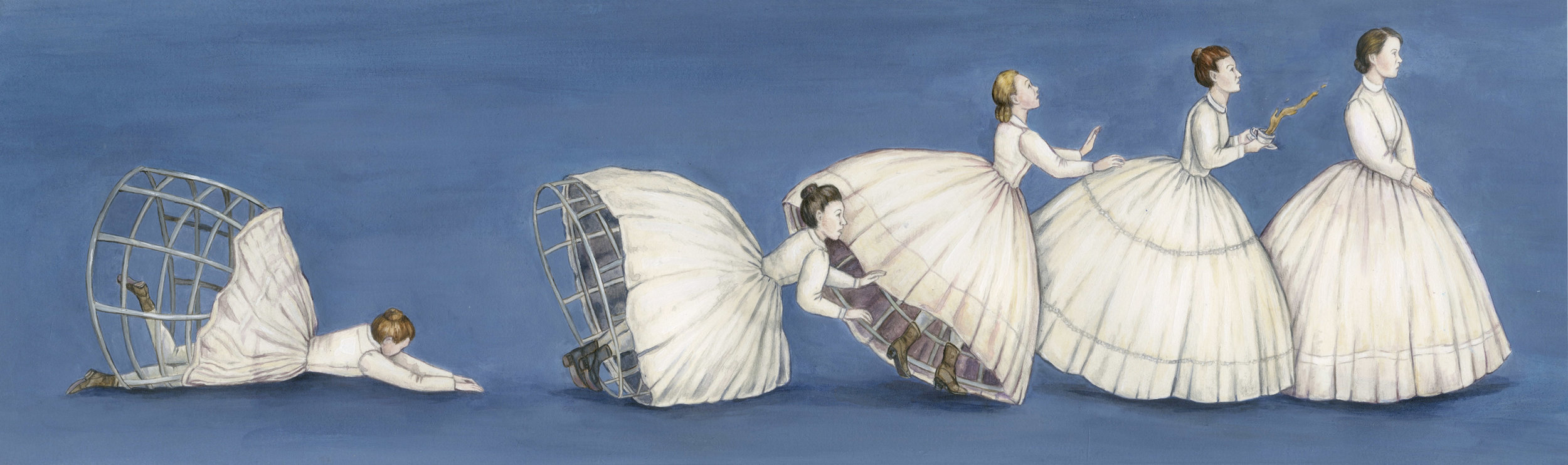 CRINOLINE   Crinolines were cages with hoops that were worn under a women's skirt to make a bell shape, often made of braided horsehair or steel. Wearing the hoops with excess fabric allowed the wearer to flaunt her wealth. The skirts were very dangerous to wear because they significantly limited mobility. The skirts could get caught between things, fabric and tulle could easily be set on fire, and be blown over by the wind.