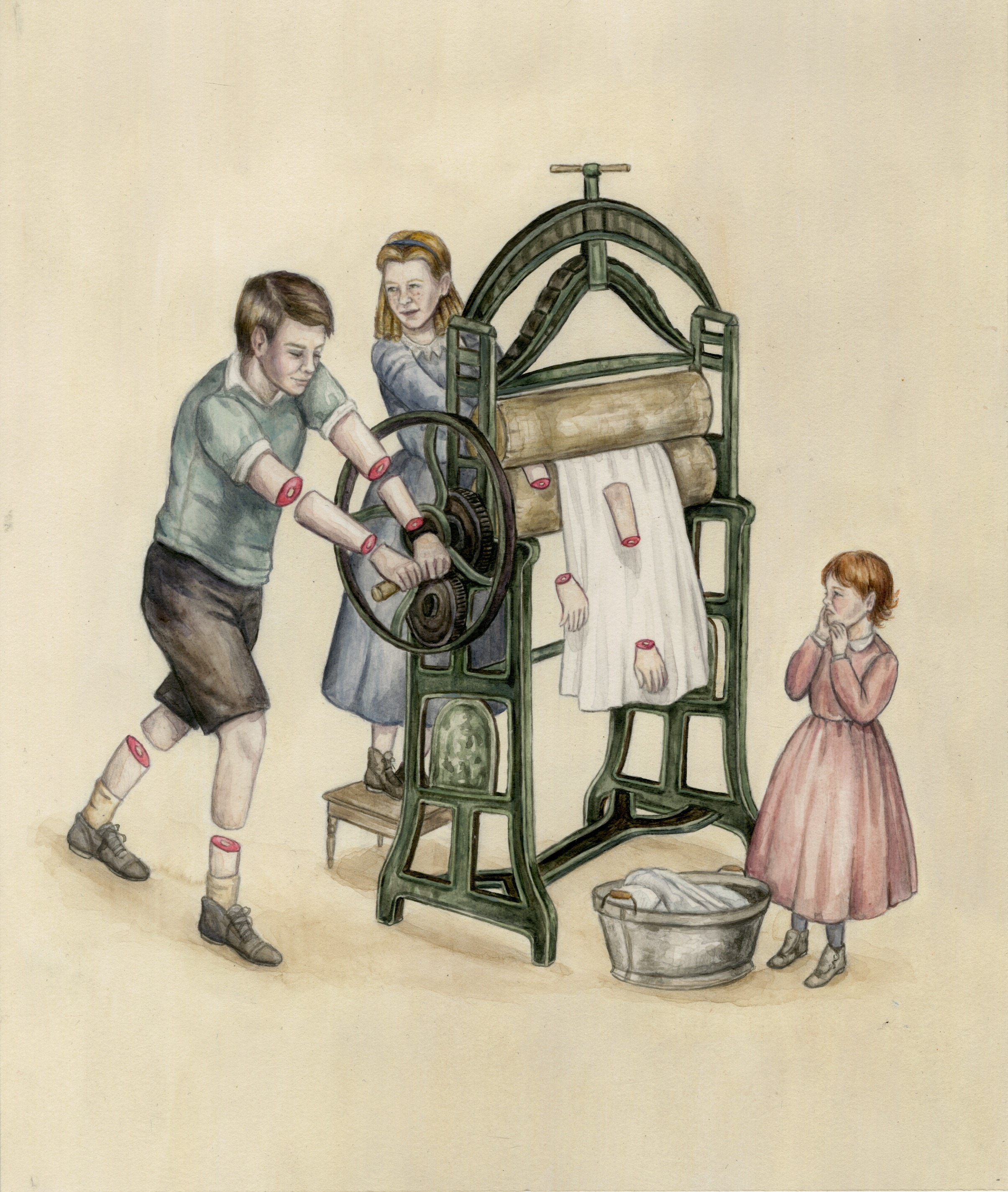 THE MANGLE    An invention called the Mangle was used to squish the water out of fabrics after they had been washed. The machine had exposed gears and curious children would accidentally get themselves jammed and caught up in the machine causing server damage or death.