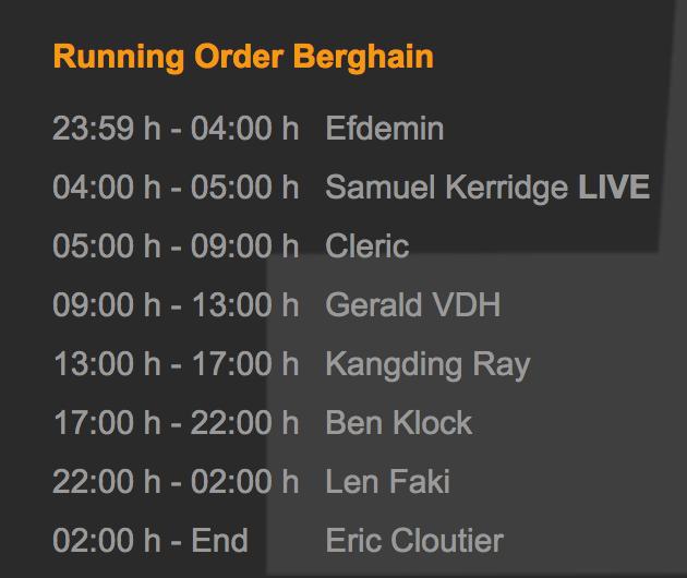 Los horarios de Berghain para el (13.05.2017) / fuente: berghain.de