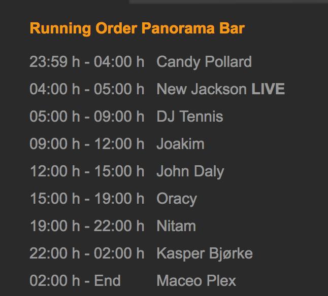 Los horarios de Panorama Bar (13.05.2017) / fuente: berghain.de