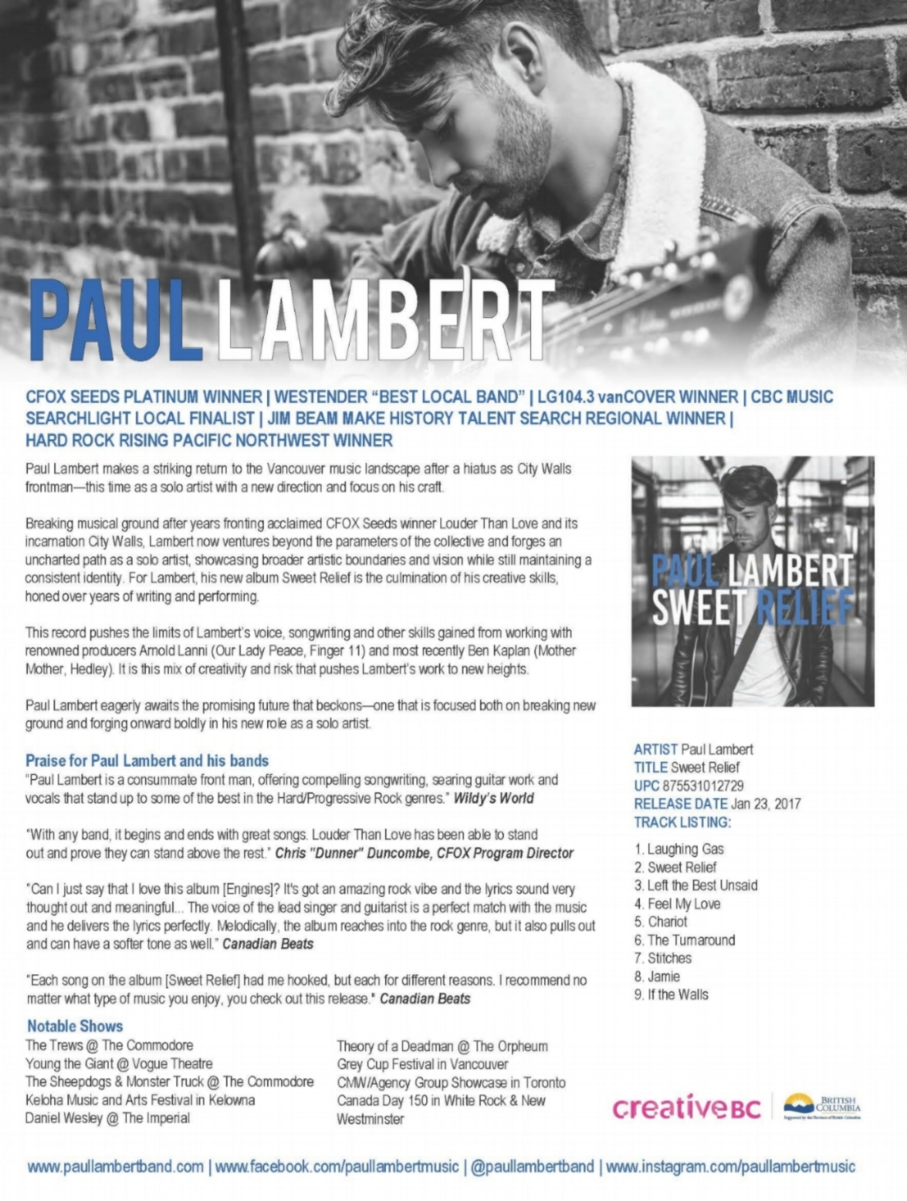 Paul Lambert One Sheet