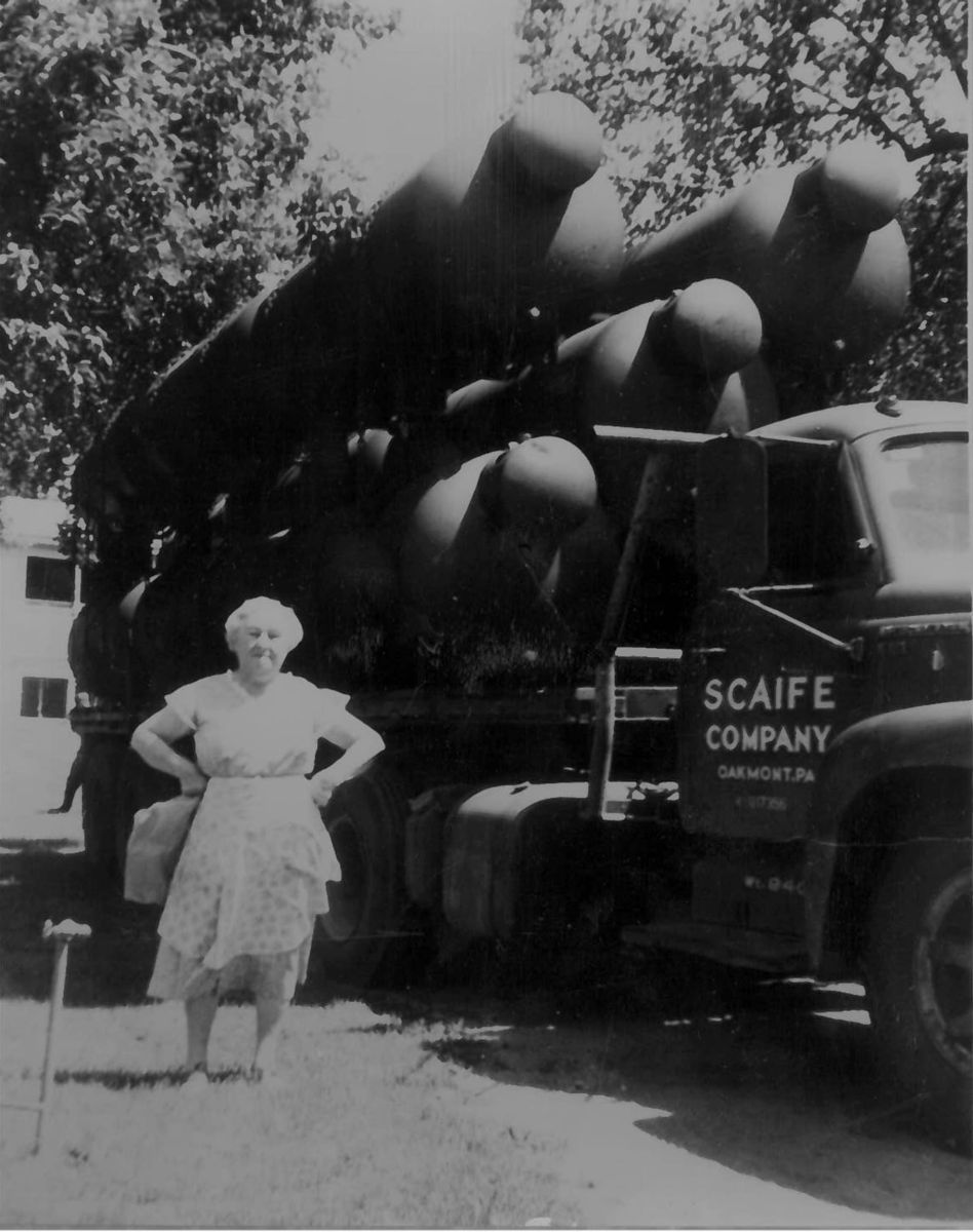 Sarah Friedman, our founder, with Propane Tanks in the 1930's