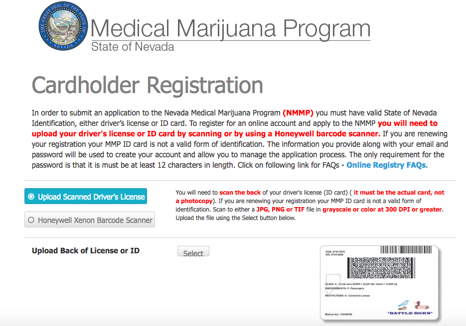 Getting your Nevada Medical Marijuana card starts with this online application.