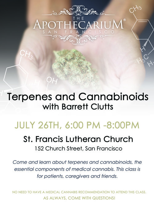 The Apothecarium is San Francisco is proud of present an evening of education. Learn about terpenes, cannabinoids and medical marijuana with Barrett Clutts.
