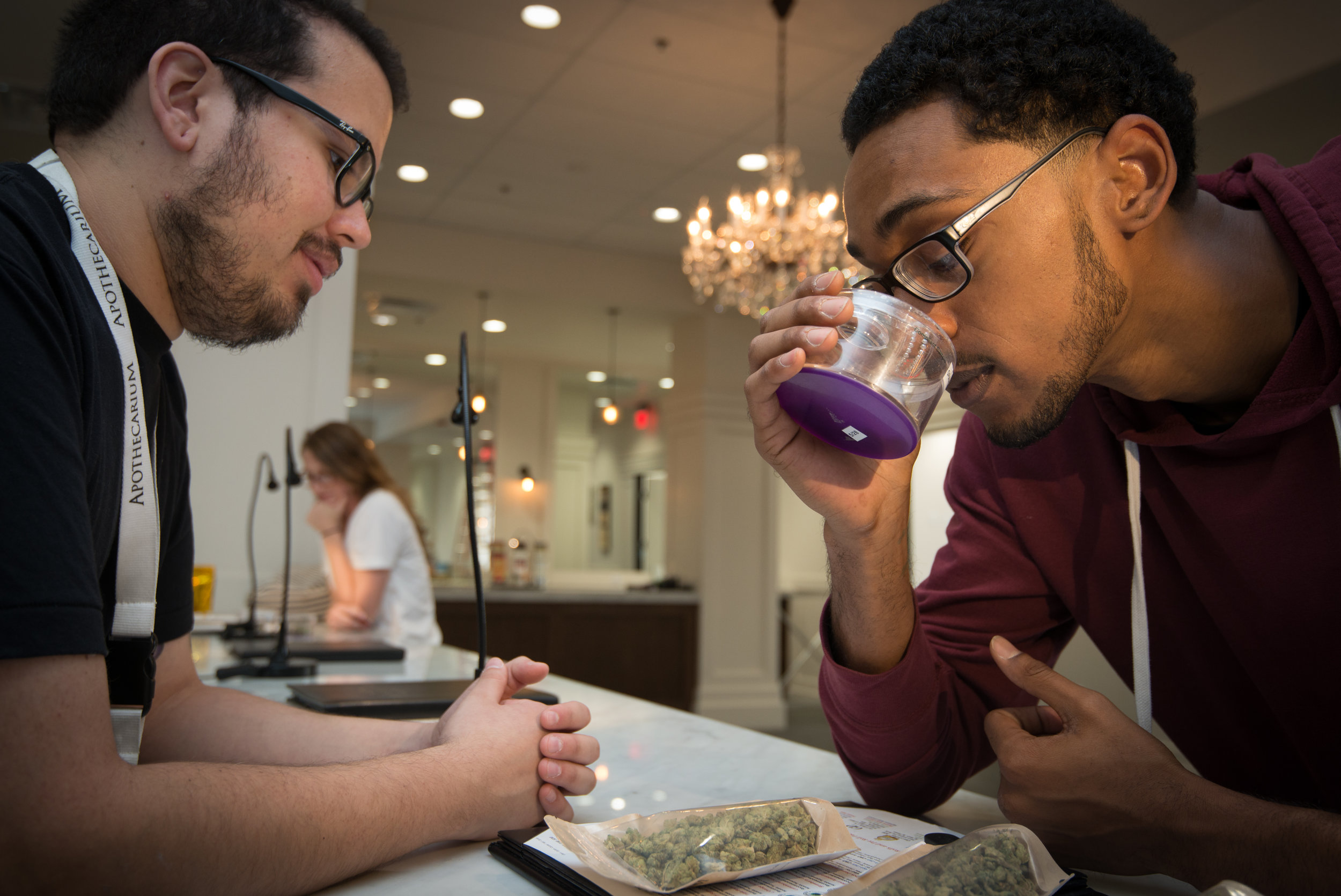 Staff at The Apothecarium Dispensary help patients find the right medicine for their needs.