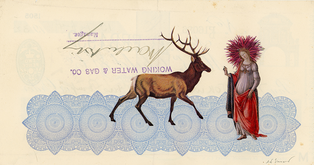 The Winter King , Vintage and decorative paper collage on 1930's English bank check, 4 x 7.5 in. / 19 x 10 cm. 2018, Private collection