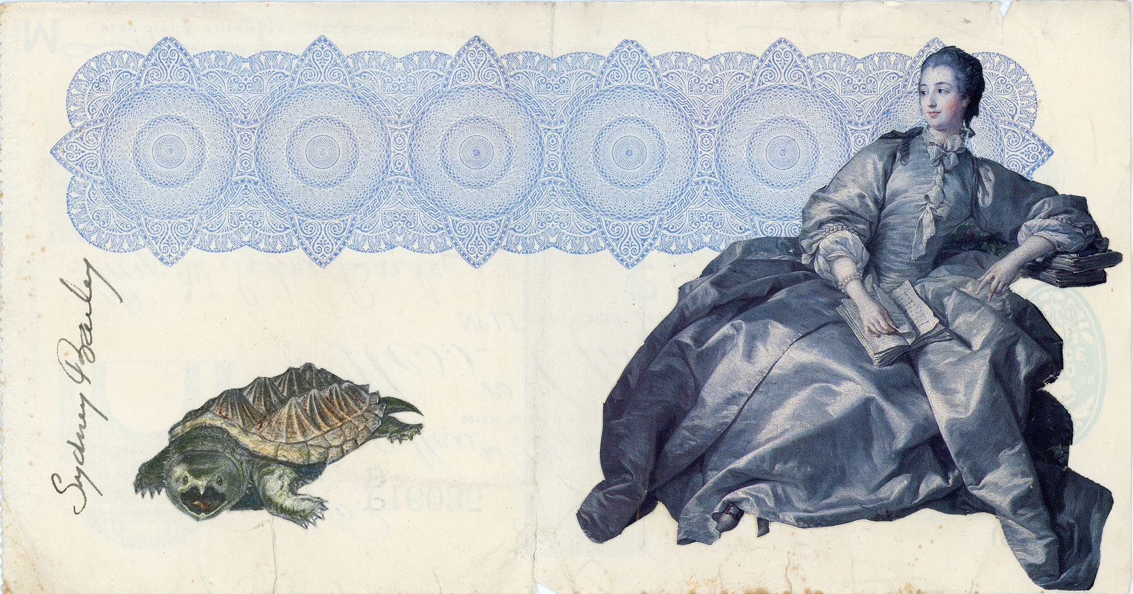 For Those Who Must Always Seem at Their Ease , Vintage and decorative paper collage on 1930's English bank check, 4 x 7.5 in. / 19 x 10 cm. 2018, Private collection