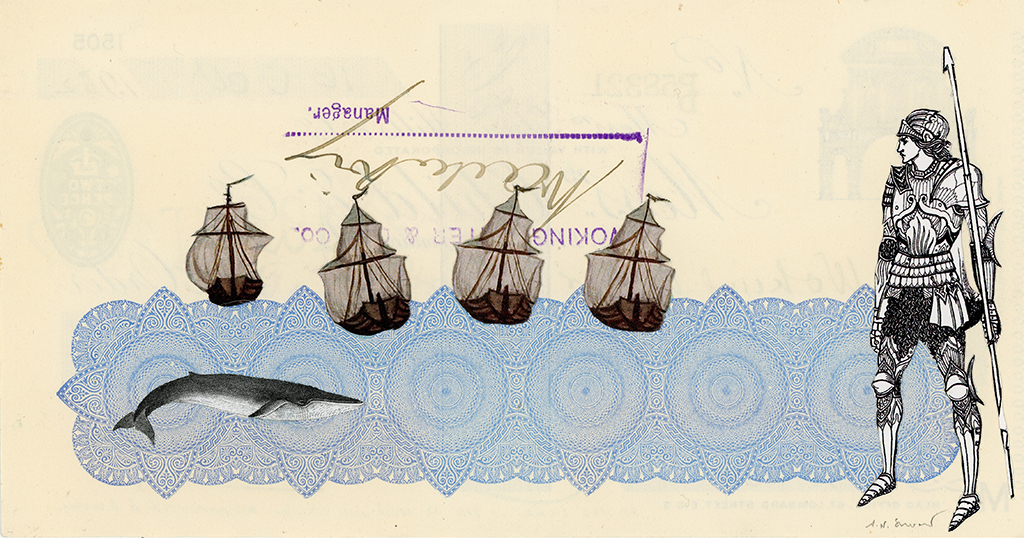 All Was Clear… Yet He Could Not Set Aside His Premonition of Disaster,  (A Premonition Realized at Sea - series of 4 works), Vintage and decorative paper collage on 1930's English bank check, 4 x 7.5 in. / 19 x 10 cm. 2018
