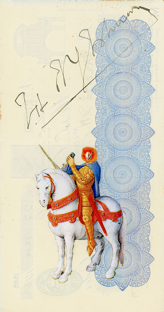 The Knight, Vintage and decorative paper collage on 1930's English bank check, 7.5 x 4 in. / 19 x 10 cm. 2018, Private collection