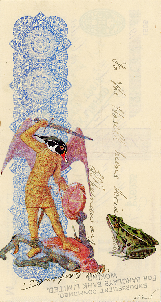 The Witness , Vintage and decorative paper collage on 1930's English bank check, 7.5 x 4 in. / 19 x 10 cm. 2018, Private collection